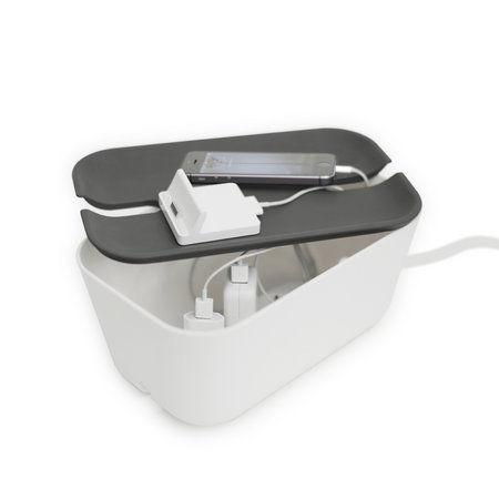 Witte kabelbox met grijze deksel van Bosign voor snoeren en stekkerdozen uit het zicht