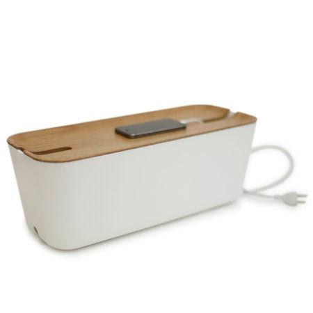 Bosign XL kabelbox met licht houten deksel - handig voor opladen telefoon