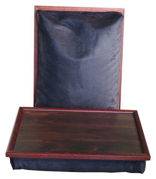 Schoottafel met mahonie top en frame met zwart suedine kussen