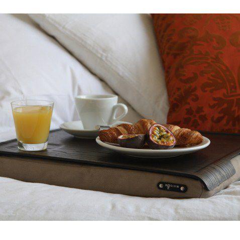 Bosign schoottafel met houten wenge bovenblad voor ontbijt op bed
