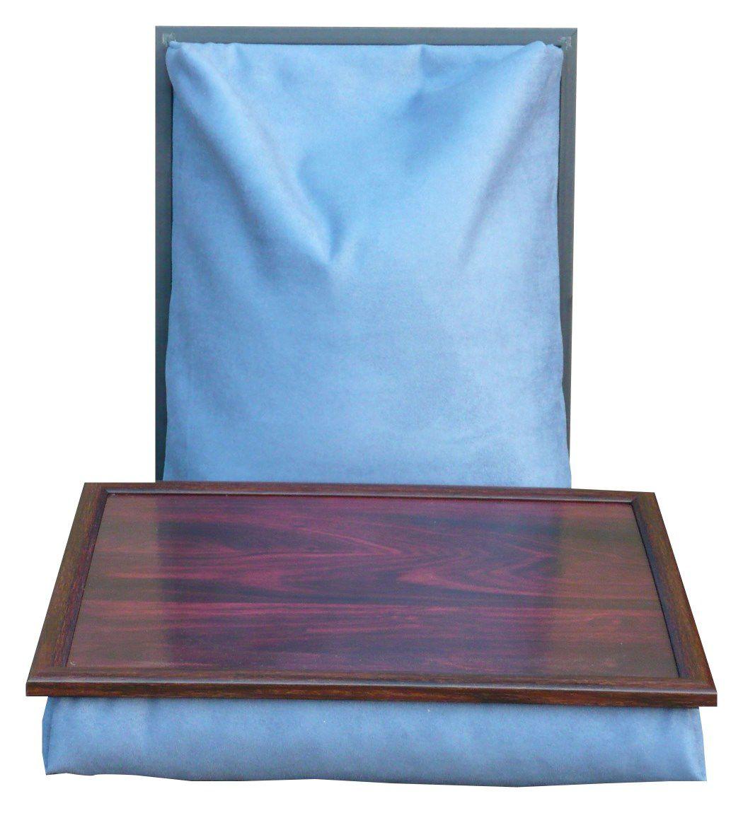 Blauw suedine schootkussen met mahonie blad en rand