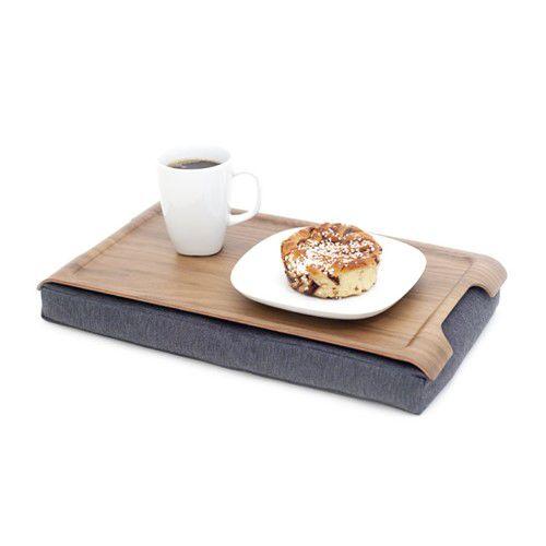Laptray-Schootafeltje-antislip-walnoot-hout-mini-met-ontbijt