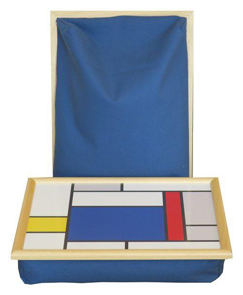 Laptray-Schoottafel-Mondriaan-grote-blokken-met-blauw-schootkussen