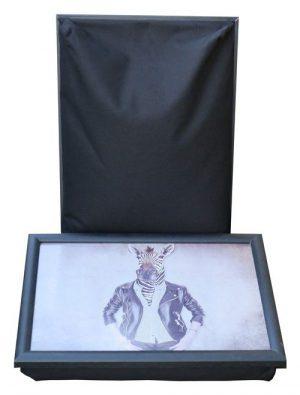 Laptray-schootkussen-schootdienblad-mrs-Zebra-voorkant