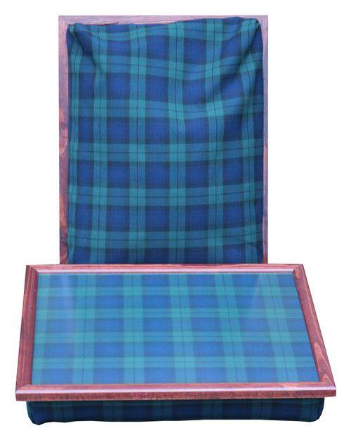Schoottafel met Black Watch Schotse ruit en mahoniehouten rand
