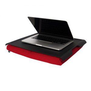 Antislip laptray rood met laptop op het antislip kunststoffen bovenblad