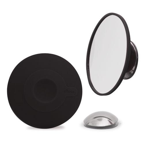 Zwarte make-up of scheerspiegel met vergrotende spiegel