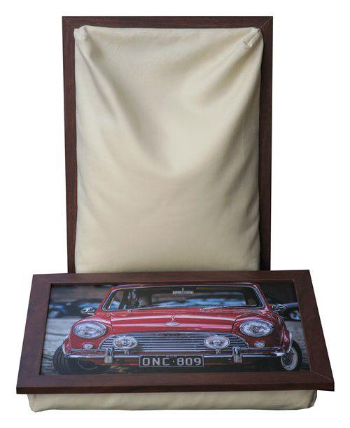 Schootkussen met foto van rode Engelse classic mini