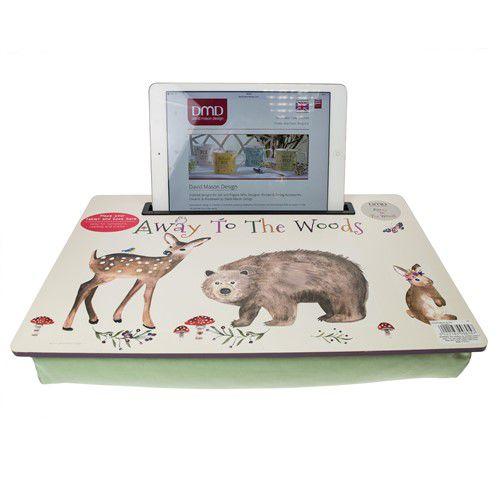 Voor kinderen een schoottafel met tablethouder met als thema Naar het Bos