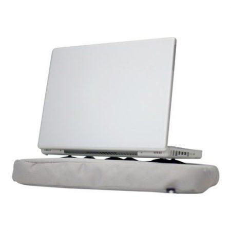 Zijaanzicht van Bosign laptopkussen zilver met laptop