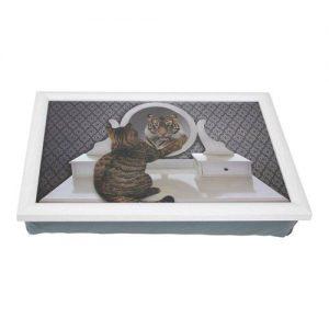 Schootkussen-Laptray-Kat-Tijger-humor met grijs kussen en wit frame