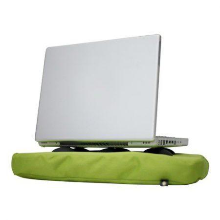 Laptopkussen lime met laptop op siliconen doppen