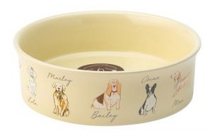 Teckel-honden-voerbak-drinkbak-geel