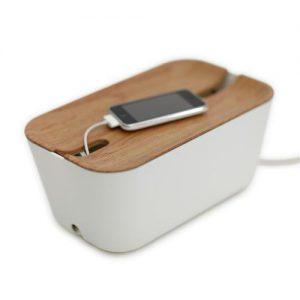 Bosign Kabelbox met licht houten deksel is handige oplaadplek