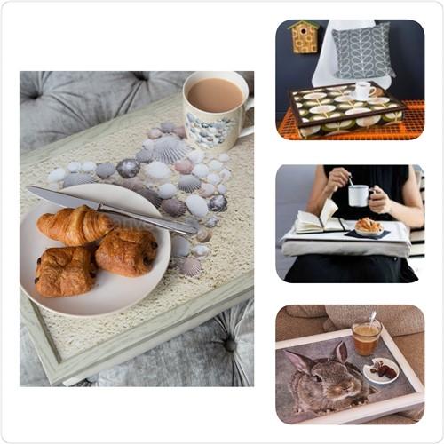Dienblad met kussen voor ontbijt op bed of werken op schoot