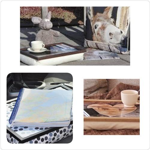 Een laptray als dienblad voor een kopje koffie buiten of als werkblad