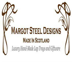 Het logo van Margot Steel voor handgemaakte laptrays uit Schotland