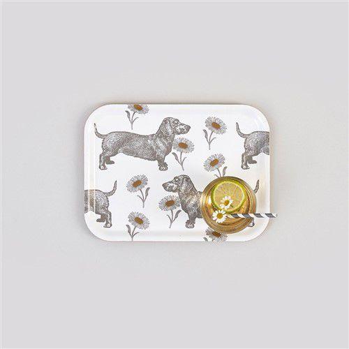 Teckel-Madeliefjes-Dienblad-berken-fineer-klein-met-glas