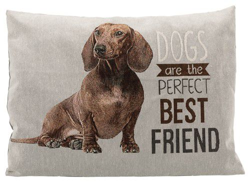 Teckel-kussen-Dogs-are-the-perfect-best-friend-voorzijde