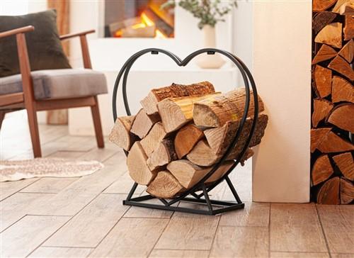 Voor houtopslag binnen in hart vorm gebogen Haardhoutrek