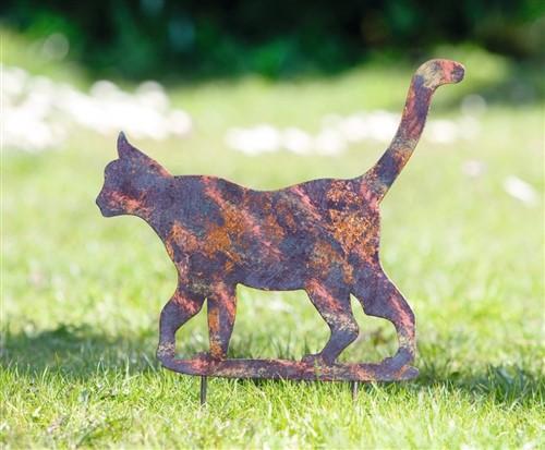 Tuinsteker Glinsterende Kat van metaal met meerkleurig patina effect