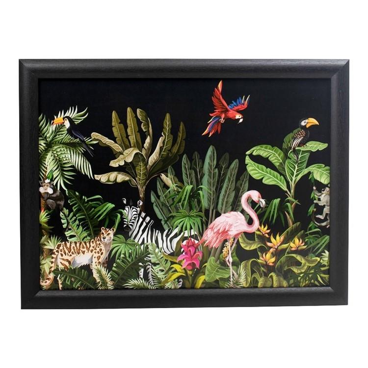 Schootkussen-jungle-zwart