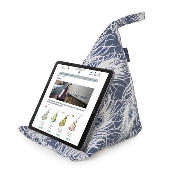 Tablet-Standaard-Boekensteun-Blauw-Wit-Veren