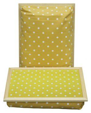 Schootkussen-Geel-Witte-Stippen